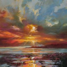 Hobbitholeco 'Sun Rays' by Scott Naismith Gel Brush Finished Gallery-Wrapped Canvas Wall Art, Ready to Hang