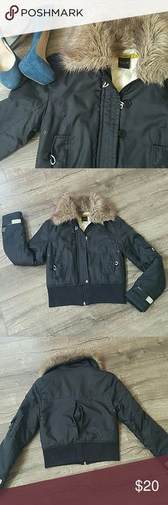 Faux fur Bomber Jacket Super cute and warm bomber jacket. Good used condition. The elastic for the buttons have lost it's elasticity otherwise no other flaws. 30 Three Jackets & Coats