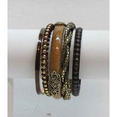 Bracelet à rangs multiples de couleur bronze et brun.