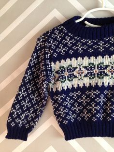 vintage navy and white winter sweater for by WeeLittleOnesVintage
