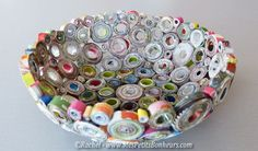 Coupelles en papier recyclé (journal, magazines, publicités...) grâce à la technique du papier roulé - tuto