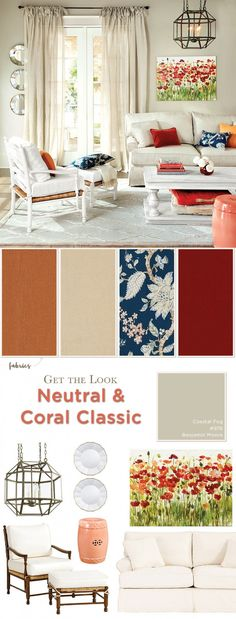 Get the look of this classic living room with neutral pieces and pops of coral