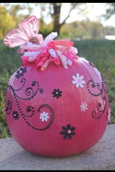 Painted Pink Pumpkins from The Long Dirt Road