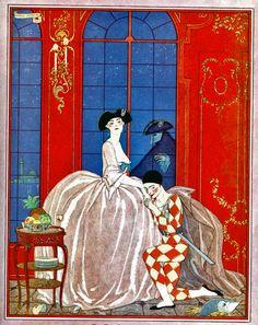 """George Barbier (1882-1932) - Four Sonnets (quatre sonnets d' Henri de Regnier intitulés Figurines d'Autrefois pour """"l' Illustration)"""" 1921"""