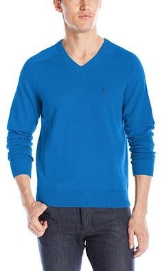 Original Penguin Men's V-Neck Sweater, Classic Blue, X-Large Best Price