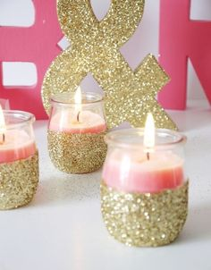 DIY glitter candleholders / http://www.deerpearlflowers.com/glitter-wedding-ideas-and-themes/2/