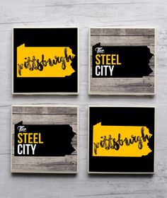 Pittsburgh Coasters, Pittsburgh Steelers Coasters, Pittsburgh Pirates Coasters, Coaster, Steel City,Pittsburgh Penguins Coasters, Pittsburgh by iGotCrafts on Etsy https://www.etsy.com/listing/452159570/pittsburgh-coasters-pittsburgh-steelers