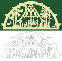 Christmas House Vector Dxf Cdr Svg For Cnc