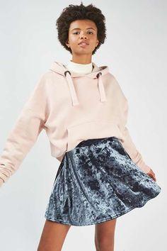 Grey velvet flippy skirt. #Topshop