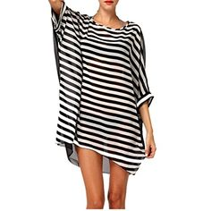 """Creazy Fashion Sexy Women""""s Stripes Oversized Beach Bikini Swimwear Cover-up (Free size). Size Sleeve Length. FREE SIZE Limited 100cm / 39.37inch. Fabric: Chiffon. Color: as the picture show. Package include: 1 PC Sexy Women's Oversized Beach Bikini Swimwear Cover-up."""