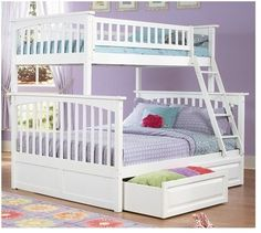 Full over Full size Bunk Bed with Ladder in Silver Metal Finish