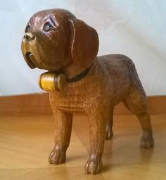 Antique Black Forest Carved Wood Dog, St. Bernard. Vintage Wood Carving. 1910 Treen. Collectable Antique Wooden Black Forest Animal. by FrenchVintageFancies on Etsy https://www.etsy.com/listing/214800571/antique-black-forest-carved-wood-dog-st