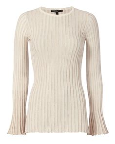 Derek Lam Bell Sleeve Rib Knit: Champagne: Form-fit rib knit. Long bell sleeves. In champagne. Fabric: 41% virgin wool/24% viscose/23% polyester/9% polyamide/3% elastane Made in Italy.     Model Measurements: Height 5'8.5 ; Waist 24 ; Bust 33 wearing size P   Length from shoulder to hem: 29 Item ...