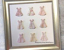 Bébé sur mesure robes papier 3D Art Origami robe Collage pépinière Art bébé…