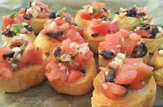 Bruschetta is an easy and delicious appetizer or snack. It goes perfectly with a chilled glass of dry white wine or raspberry Prosecco. Pitted Olives, Dry White Wine, White Bread, Fresh Basil, Yummy Appetizers, Prosecco, Bruschetta, Raspberry