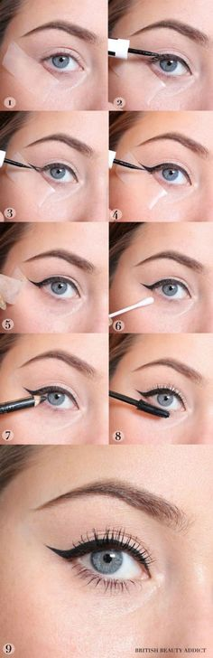 Using tape to create a winged liner is one of the best beauty hacks for the holidays.