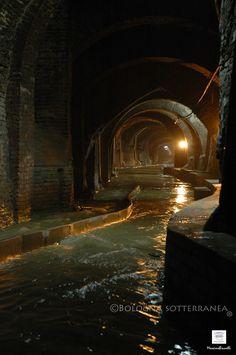 Amazing underground tunnels in Bologna.