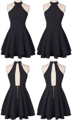 Grad Dresses, Homecoming Dresses, Casual Dresses, Fashion Dresses, Dress Prom, Chiffon Dress, Cute Short Prom Dresses, Halter Dress Short, Homecoming Ideas