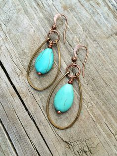 Turquoise Teardrop Dangle Hoop Earrings