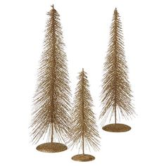 Deck your halls in holiday cheer this season with this festive decor set, showcasing 3 metal trees in a lovely gold finish.  Product...