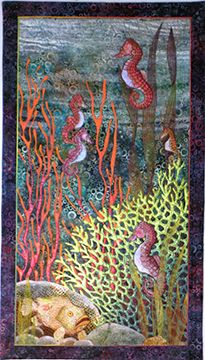 """Seahorse & Frogfish, 23.5""""W x 41""""H betty busby--fine art in fiber"""