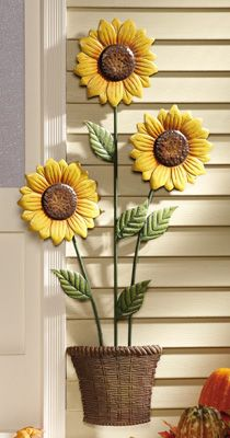 Harvest Sunflower Stalk Metal Wall Decor