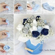 Baby Sock Bouquet...these are the BEST Baby Shower Ideas!