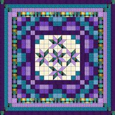 Quilt Kit/Nine Patch Starlily Purple/Aqua/Precut Fabrics Ready2Sew/KG/Exped ****