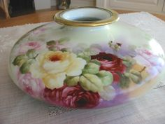 Antique Hand Painted Austrian - Austria Porcelain~ Huge ~Squat from theverybest on Ruby Lane