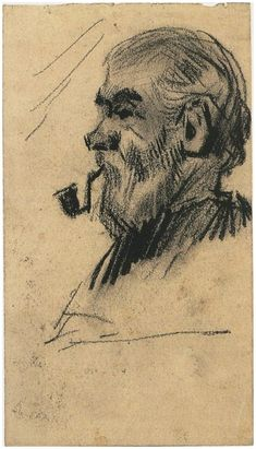 Vincent van Gogh - Head of an Old Man, Drawing, 1885