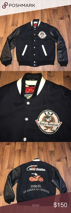 Medium Harley Davidson Taz Leather Varsity Jacket Excellent condition Harley-Davidson Jackets & Coats Bomber & Varsity