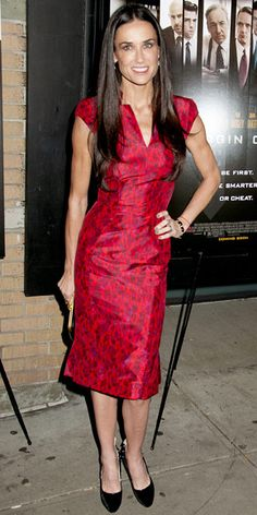 Demi Moore in #red Zac Posen dress and Brian Atwood pumps