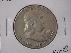 1955 Franklin Silver Half Dollar VG F Condition Priced Under Bid | eBay