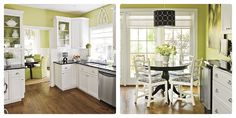 Love the apple green kitchen with white & the black pedestal table!