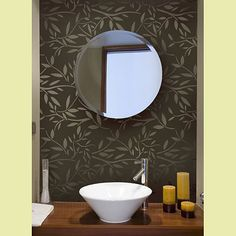 Got this stencil and am going to use it in the guest bath. Using gray paint and the leaves will be in the same color only glossy. Vines-stencils-Kathy_peterson