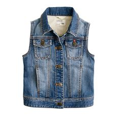 J Crew kids denim vest. A retro wash and cool front pockets make this basic staple cool again.