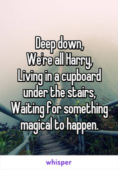 Deep down, We're all Harry, Living in a cupboard under the stairs, Waiting for something magical to happen.