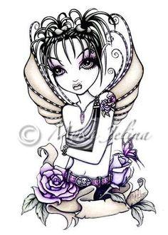 Gothic Rose Tattoo Fairy OOAK ACEO ATC Faerie SAMANTHA #GothicFantasy
