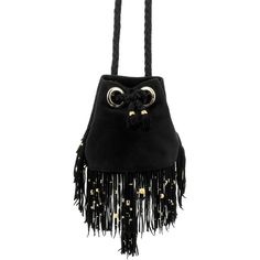 Delphine Delafon Fringed Bucket Bag (442.895 CRC) ❤ liked on Polyvore featuring bags, handbags, shoulder bags, bucket bag, suede fringe purse, suede handbags, fringe shoulder bag and suede purse