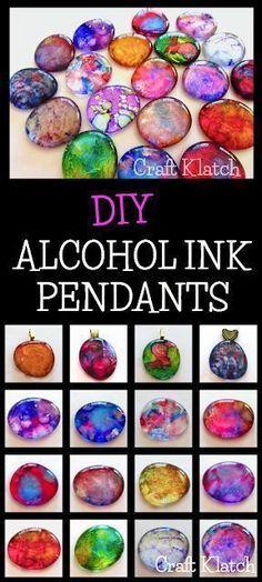 Craft Klatch ®️️️️️️️️️️️️: DIY Alcohol Ink Pendants | Jewelry Craft Tutorial | Craft Klatch