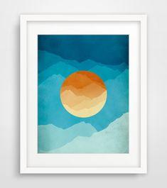 Mid Century Modern Art Print, Abstract Art, Mountains, Modern Art, Blue and orange