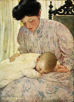 'First the infant in It's Mother's Arms' (1909) from 'The The Seven Ages of Childhood'  by American artist Jessie Wilcox Smith (1863-1935).