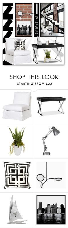 """On My Desk"" by brendariley-1 ❤ liked on Polyvore featuring interior, interiors, interior design, home, home decor, interior decorating, Pangea, Nearly Natural, Eichholtz and Universal Lighting and Decor"