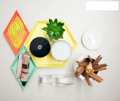 Geometric trinket holders/organizers. Kaleido Trays and the Ceramic Sugar Can.