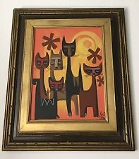 EL GATO GOMEZ PAINTING RETRO VINTAGE TIKI BAR WITCO ERA CAT IDOL EXOTICA 1950S