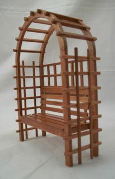 Garden Bench dollhouse miniature furniture 1/12 scale T7219 wood w/ pecan finish