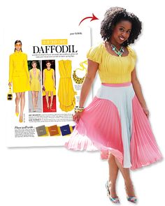 """Jessica Andrews of New York Cit, who runs the style blog Glamazon, set out to create a cheery outfit inspired by April's Color Crash Course: Daffodil. Andrews explains the reasoning behind her love of the sunny color, """"The vibrancy of the yellow matches my personality!"""" Heeding our advice, Andrews created a more subtle look by mixing a bright top with a more toned down (but still colorful!) pleated skirt."""