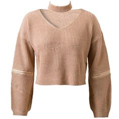 "Slightly+cropped+knitted+sweater+with+functional+zipper+sleeves+so+you+can+wear+it+with+opened+elbows+for+that+distressed+look.+Detachable+choker+neck+piece.  One+size+fits+S-L 42.5""+chest 16""+across+shoulders 17.5""+length"