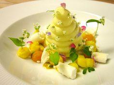 Creatividad Gastronomica -  Chef Antonio Bachour -  Frozen Mango Semifreddo in Passion Fruit Foam – Coconut Meringue, Pineapple Curd, Tropical Fruit, Mango Gel