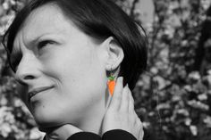 Carrot earrings  stainless steel earrings by HorakovaDesigns, $19.00